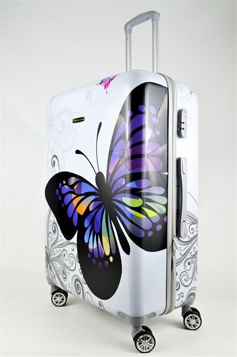 Чемодан большой ABS Корона бабочка белая - фото 26730