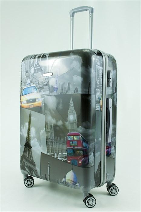 Чемодан большой ABS Рисунок Такси/Париж/Лондон - фото 30212
