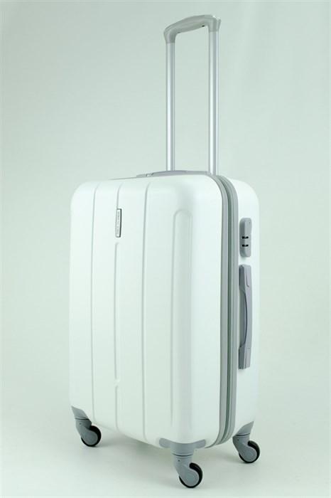 Чемодан средний ABS KK (три полоски) белый - фото 30390