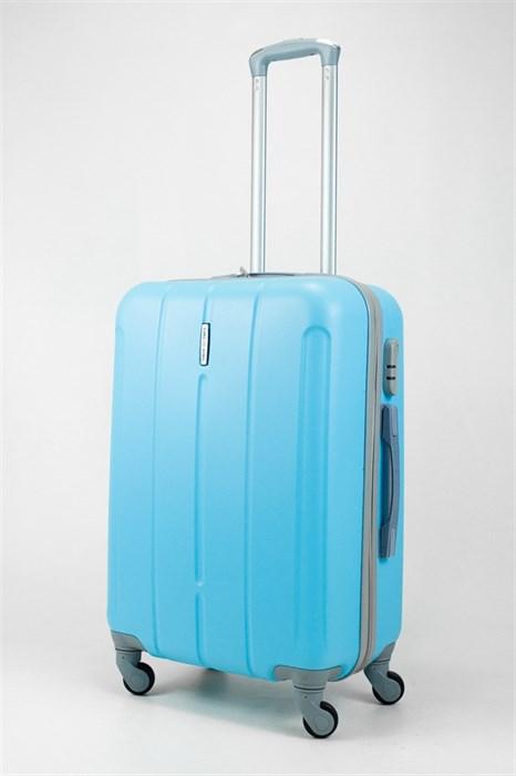 Чемодан средний ABS KK (три полоски) голубой - фото 31970