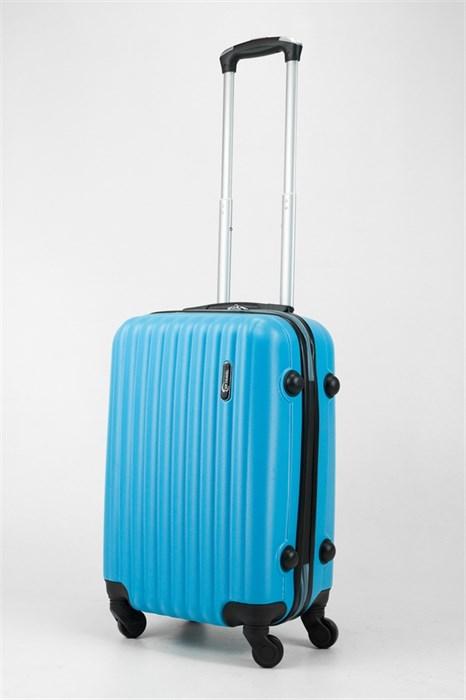 Чемодан маленький ABS TT (верт  полоски) голубой - фото 32014