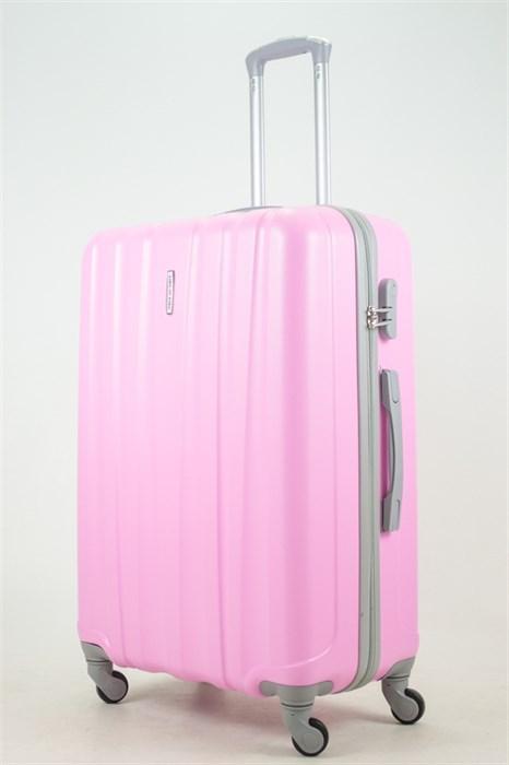 Чемодан большой ABS KK 6 полос  (С) розовый - фото 33747