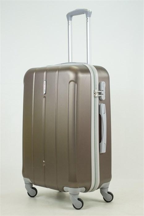 Чемодан средний ABS KK верт  полоски  коричневый - фото 33777