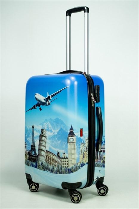 Чемодан средний PC принт самолет голубой - фото 34838