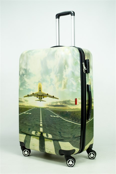 Чемодан большой PC принт самолет бежевый - фото 34851