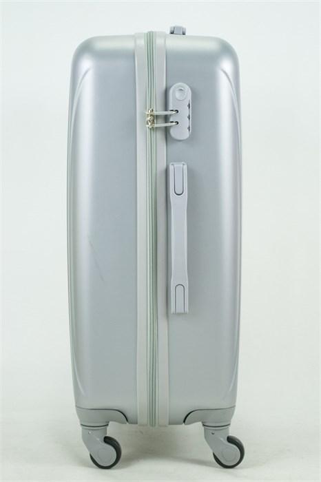 Чемодан средний ABS KK 6 полос  серебро - фото 35046