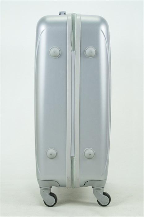 Чемодан средний ABS KK 6 полос  серебро - фото 35047