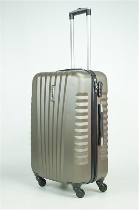 Чемодан средний ABS Hossoni (8 верт  полос ) коричневый (Ч) - фото 35590