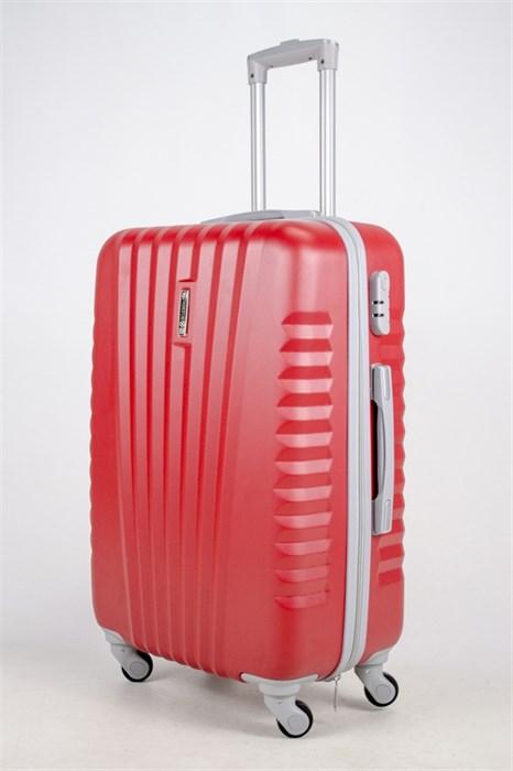 Чемодан средний ABS Hossoni (8 верт  полос ) красный - фото 37478