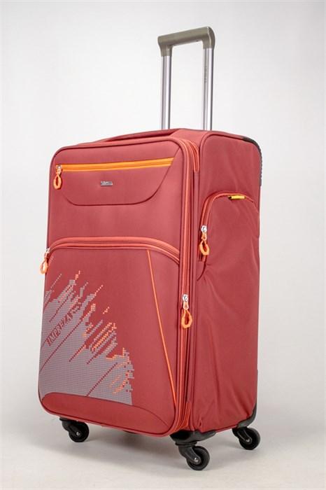 Чемодан текстильный большой Impreza (с аппликацией) красный съемные колеса - фото 38896
