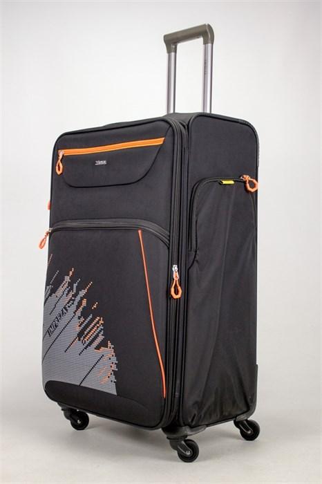 Чемодан текстильный большой Impreza (с аппликацией) черный съемные колеса - фото 38910