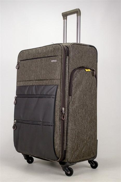 Чемодан текстильный большой Impreza серый съемные колеса waterproof - фото 38922