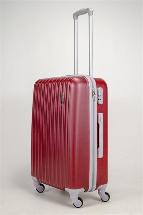 Чемодан средний ABS KK  (верт  полосы) бордовый - фото 39016