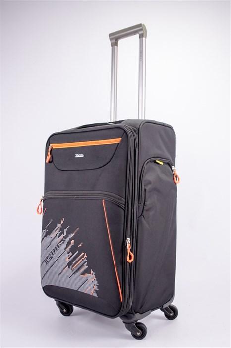 Чемодан текстильный средний Impreza (с аппликацией) черный съемные колеса - фото 39262