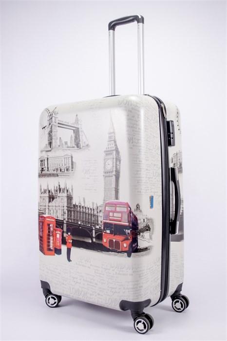 Чемодан большой PC принт Лондон с автобусом - фото 39416
