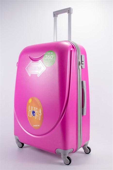 Чемодан большой ABS 360-гр smile  розовый - фото 39526