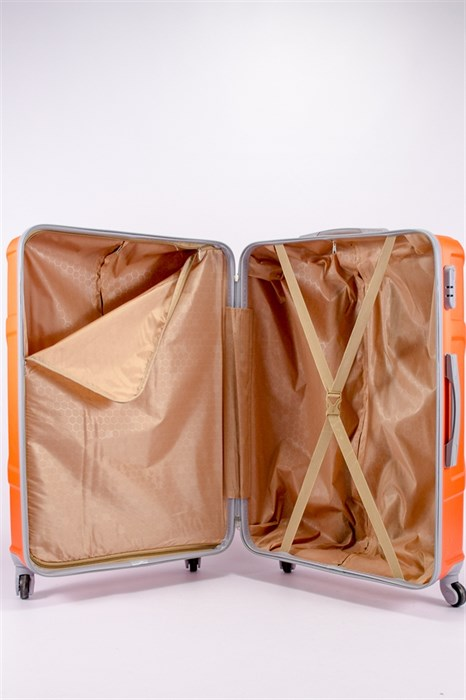 Чемодан большой ABS KK (черепаха) оранжевый - фото 39774