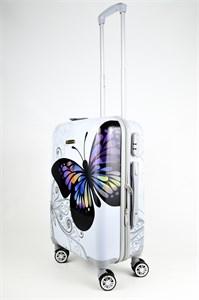 Чемодан маленький ABS Корона бабочка белая