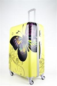 Чемодан большой ABS Бабочка желтая