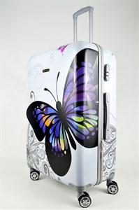 Чемодан большой ABS Корона бабочка белая