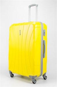 Чемодан большой ABS KK три полоски  желтый