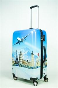Чемодан большой PC принт самолет на фоне голубого неба