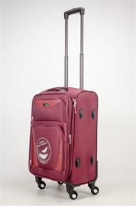Чемодан маленький Alezar 4 колеса текстиль бордовый