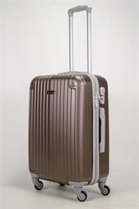 Чемодан средний ABS KK (верт полосы и уголки) коричневый