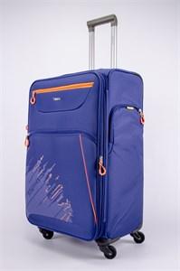Чемодан текстильный большой Impreza (с аппликацией) синий съемные колеса