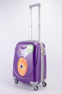 Чемодан маленький ABS 360-гр smile фиолетовый