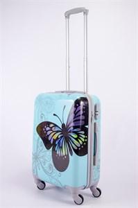 Чемодан маленький ABS Корона бабочка голубая CФ