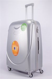Чемодан большой ABS 360-гр smile  серебро