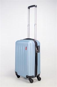 Чемодан маленький Люида PC+ABS верт. полосы голубой металлик (Уценка)