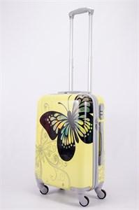 Чемодан маленький ABS Корона бабочка желтый фон