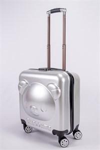 """Детский чемодан с объемным рисунком """"Мишка"""" серебро PC"""