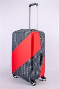 """Чехол для среднего чемодана """"косая красная полоса"""" 13376"""