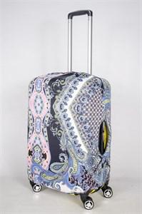 """Чехол для среднего чемодана """"узоры на черном фоне"""" 13379"""