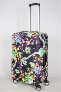 """Чехол для среднего чемодана """"зеленые цветы на черном фоне"""" 13381"""