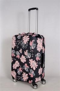 """Чехол для среднего чемодана """"розовые цветочки на черном фоне"""" 13385"""
