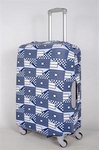 """Чехол для среднего чемодана """"разные фигуры на голубом фоне"""" 13389"""