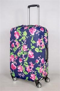 """Чехол для среднего чемодана """"розы на темно-синием фоне"""" 13390"""