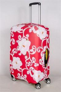 """Чехол для среднего чемодана """"белые цветы на красном фоне"""" 13391"""