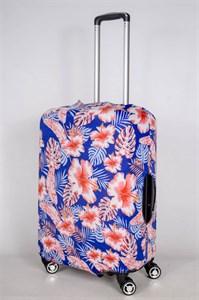 """Чехол для среднего чемодана """"алые цветы на синем фоне"""" 13393"""