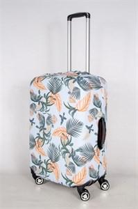 """Чехол для среднего чемодана """"папоротники и оранжевые цветы на голубом фоне"""" 13402"""