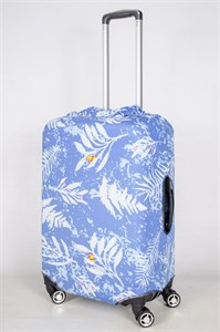 """Чехол для среднего чемодана """"белые цветы на голубом фоне"""" 13408"""