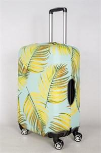 """Чехол для среднего чемодана """"листья папоротника на салатовом фоне"""" 13410"""