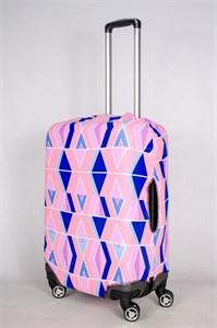 """Чехол для среднего чемодана """"розовый орнамент  синими вставками"""" 13418"""