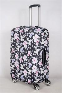 """Чехол для среднего чемодана """"бело-розовые цветочки на черном фоне"""" 13420"""