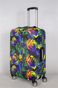 """Чехол для среднего чемодана """"разноцветные розы на черном фоне"""" 13422"""