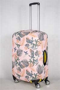"Чехол для среднего чемодана ""папоротники на розовом фоне"" 13427"
